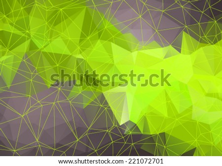 Abstract mesh background with circles, lines and shapes. Futuristic green Design - stock vector