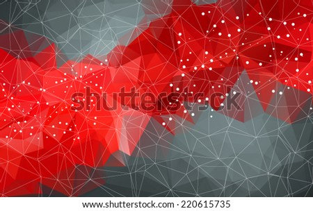 Abstract mesh red background with circles, lines and shapes. Futuristic Design - stock vector