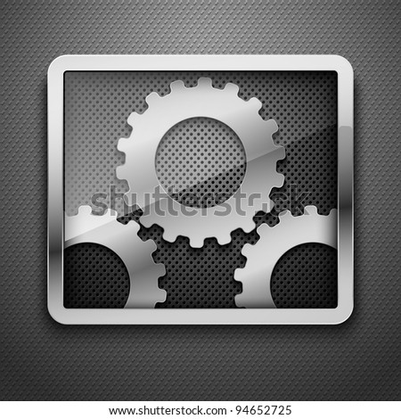 Abstract metal background with framework and gears. Vector illustration. - stock vector