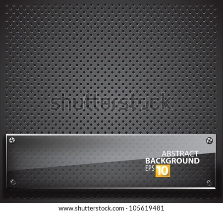 Abstract metal background with glass framework. - stock vector