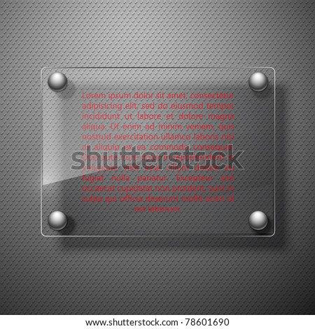 Abstract metal background with glass framework. Vector illustration. - stock vector