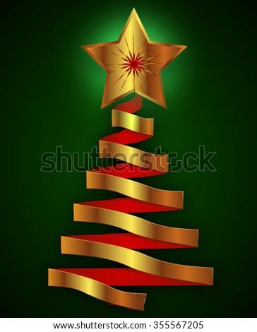 Abstract metal christmas tree - stock vector