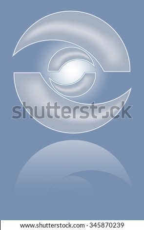 Abstract metal 3d circle shape with mirror reflection. Isolated design convex element vector eps10 - stock vector