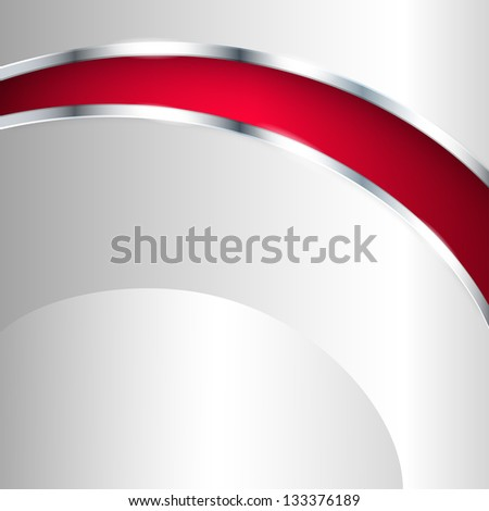 Abstract metallic background with red element. Vector illustration. - stock vector