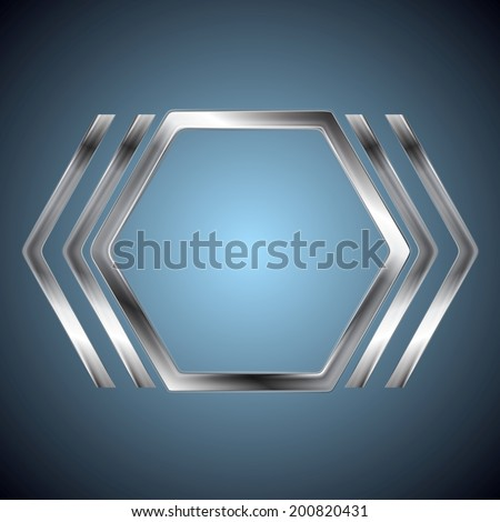 Abstract metallic hexagon shape. Vector steel logo background - stock vector