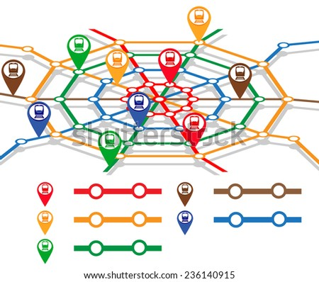 abstract metro map in form of spider's web with markers of trains. vector illustration
