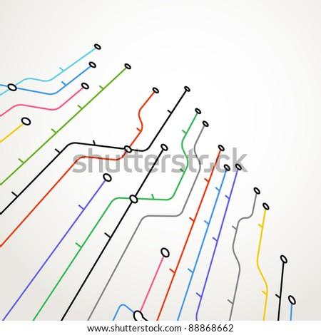 Abstract metro scheme background - stock vector