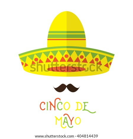 Abstract Mexican face with large mustache and sombrero hat cartoon flat style design element. Vector illustration.