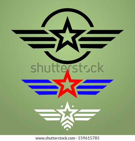 Abstract military star emblem set on green background - stock vector