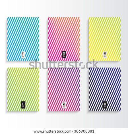Abstract minimal colorful flyer or book cover design set with stripes pattern background and your text  Eps 10 stock vector illustration   - stock vector