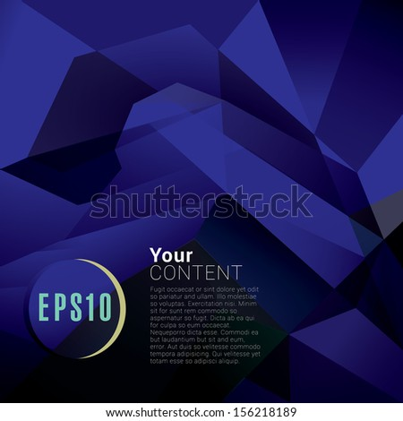 Abstract minimal geometric eps10 vector background in dark blue retro style for universal use - stock vector