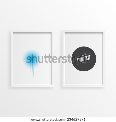 Abstract minimal round text box design in wooden picture frame on a wall  Eps 10 stock vector illustration  - stock vector
