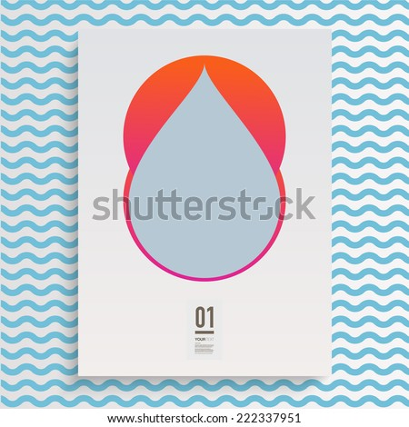 Abstract minimal unusual flyer design with geometric shapes, wave lines and your text  Eps 10 stock vector illustration  - stock vector