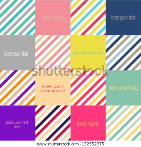 Abstract minimalistic flat design background with squares and  striped chevron patterns. Ideal for web site interface, infographic banners or brochure layout. Flat web design. - stock vector