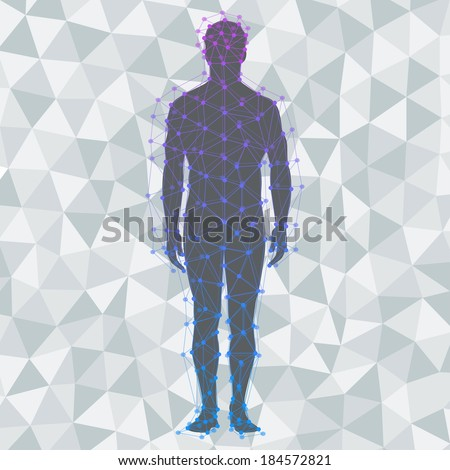 Abstract model of man on poly background. Vector background - stock vector