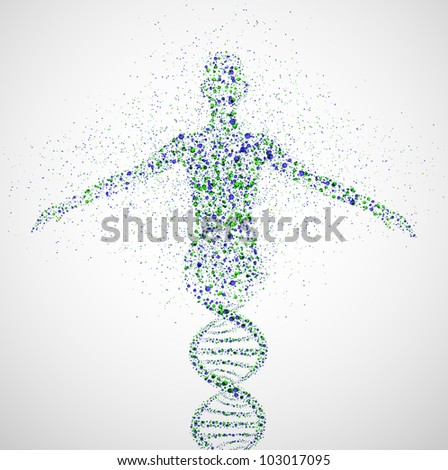 Abstract model of woman of DNA molecule. Eps 10 - stock vector
