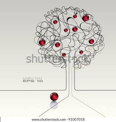 abstract modern background with apple tree - stock vector