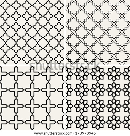 Abstract, modern backgrounds set, geometric seamless patterns, islam style ornaments, monochrome vector wallpapers, fashion fabrics and wrappings with graphic elements for design  - stock vector