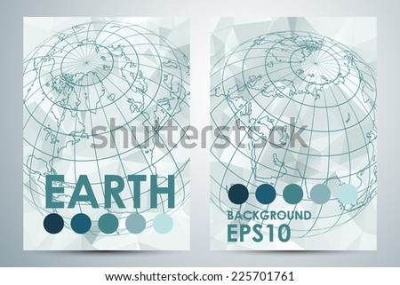 Abstract modern business concept polygonal cards Earth. Vector illustration - stock vector