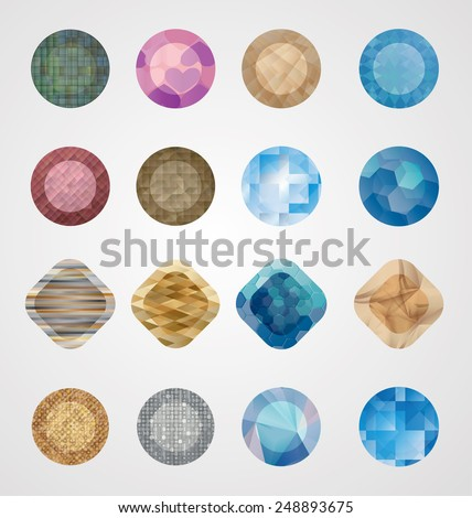 Abstract Modern Buttons. Crystal Texture. Logo Design. Vector Illustration. Collection of Diamonds.  - stock vector