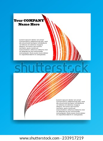 Abstract Modern Curved Lines Business Card Template. Vector Illustration  - stock vector