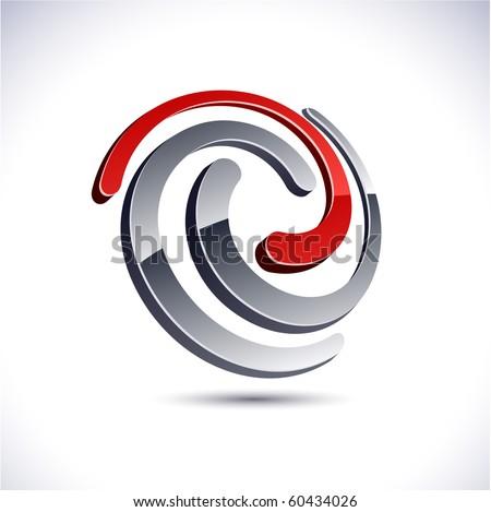 Abstract modern 3d swirl logo. Vector. - stock vector