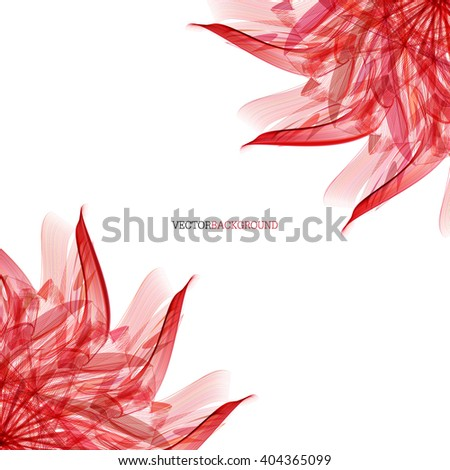 Abstract modern floral background with red leaves - stock vector
