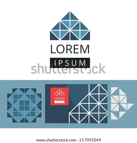 Abstract modern geometric background, logo. Crystal structure - stock vector