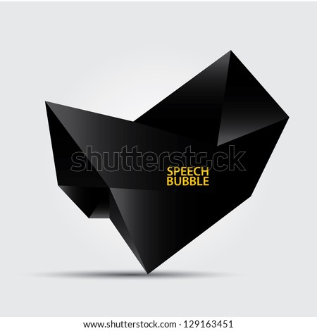 Abstract modern glossy black origami speech bubble. Black abstract background.  dark brochure. - stock vector