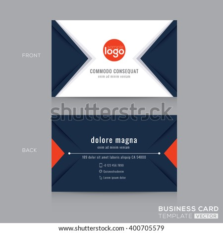 Abstract modern navy blue triangle Business card name card Design Template - stock vector