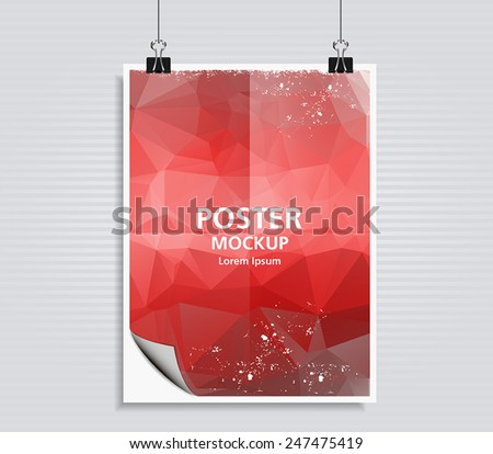 Abstract modern poster / with triangular polygons. Flyer design template. Vector illustration eps 10. - stock vector