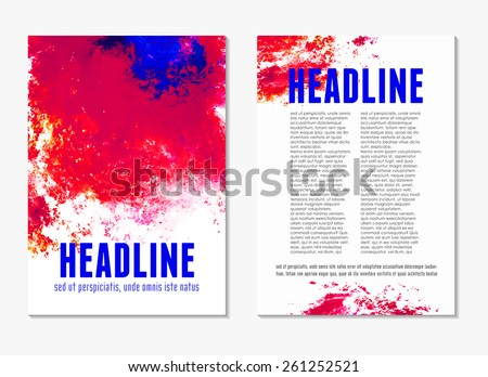 Abstract modern red and blue color backgrounds with watercolor paint splash. Back and front flyer. Bright cover design template layout for corporate business book, booklet, brochure, poster. Vector - stock vector