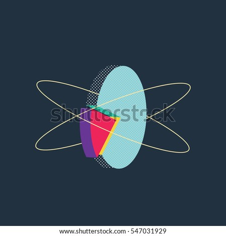 Abstract modern retro vector shape pie chart. Eps10 vector illustration.