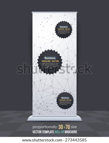 Abstract Modern Technology Symbols, Geometric Polygonal Trend Molecular Dots Array Concept Background Theme. Business Roll-Up Banner, Poster Design, Vertical Advertising Vector Template  - stock vector