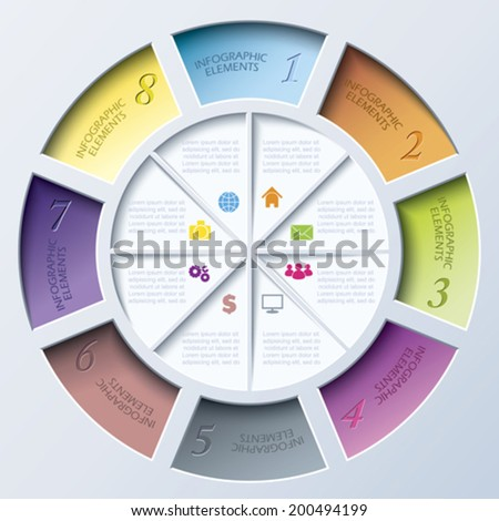 Abstract modern template for web design or presentation with circle and eight segments.