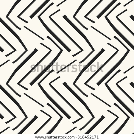 Abstract modern twisted broken zigzag in black and white. Seamless pattern.