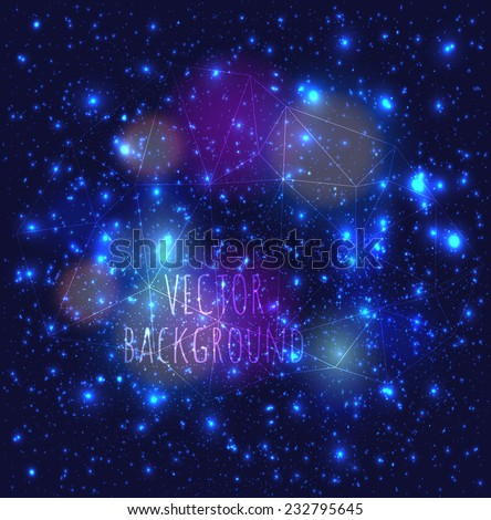 Abstract modern vector dark background with a stars constellation cosmos lights, flickering, bokeh - stock vector