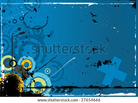 abstract modern vector illustration,floral elements with grunge shapes,ink blots
