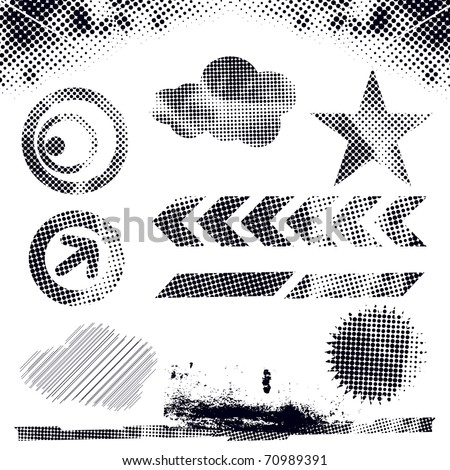 abstract modern vector illustration,grunge dots elements with retro shapes,ink splat. - stock vector