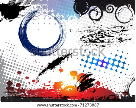abstract modern vector illustration,grunge elements with retro shapes,ink splat. - stock vector
