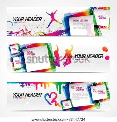 Abstract modern website banner set. EPS 10 vector - stock vector