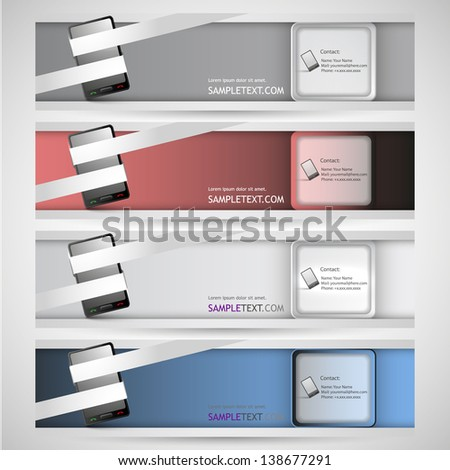 Abstract modern website promotional banner or header set, vector EPS10. - stock vector