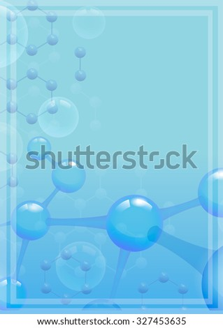 Abstract molecular background with blue molecule for Scientific report. Microscopic atomic element, vector illustration - stock vector