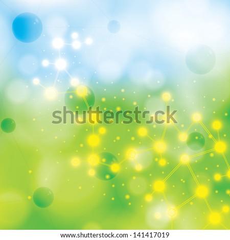 Abstract molecule blue green background - stock vector