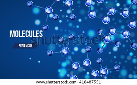 Abstract molecules design. 3d atomic structure molecule model grid over blue background. Banners with blue molecules design. Atoms. Medical background for banner or flyer. - stock vector