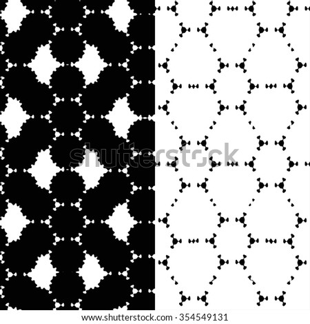 Abstract monochrome black and white doodle seamless patterns set, modern stylish texture - stock vector