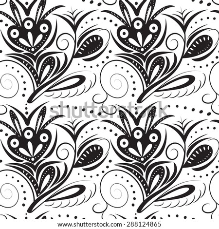 Abstract monochrome seamless pattern. Black pattern on a white background - stock vector