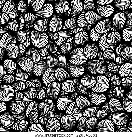 abstract monochrome sketch foliage petals seamless pattern. hair pattern.  wave hand-drawn vector pattern. surface texture. vector background - stock vector