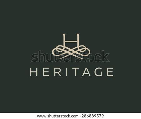 Abstract monogram elegant flower logo icon vector design. Universal creative premium letter H initials ornate signature symbol. Graceful vector sign. - stock vector