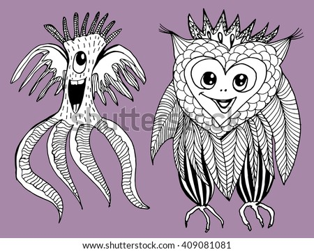 Abstract monsters. Mutants. Fantastic creatures. Fantastic animals. Aliens. Line art. Black and white drawing by hand. Doodle. Coloring. - stock vector